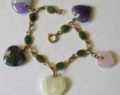 Vintage Jade Chinese Charm Bracelet 12K Gold Filled Hearts Multi Gemstones