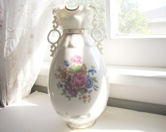 Vintage Bone China Vase Lenox 1930's Flowers Two Handled Shabby Chic from AllieEtCie