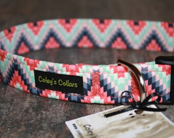 "Aztec Dog Collar ""The Aztec in Coral"" Dog Collar"