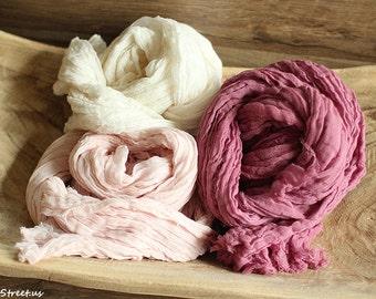 Three Cheese Cloth Wraps, Blush Pink Cheesecloth, Orchid and Ivory Cheese Cloth, Cheese Cloth Cocoon Wrap, Photo Prop, Newborn Props