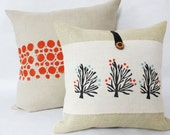 Orange Blossom Tree Burlap Pillow - Tree Pillow - Decorative throw accent pillow cover - Burnt Orange and Slate Grey Blue Accent