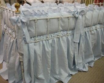 Ruffled Washed Linen Crib Bedding in Little Boy Blue-Storybook Crib Skirt-Ruffled Bumpers-Sash Ties-Classic Ruffled Linen Nursery Bedding