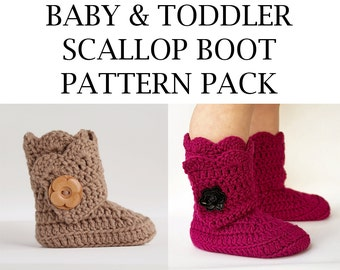 Baby And Toddler Scallop Edge Boot Crochet Pattern Pack- PDF