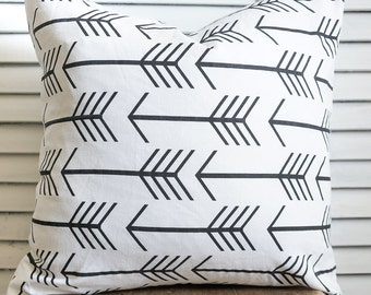 Black and white arrow pillow cover