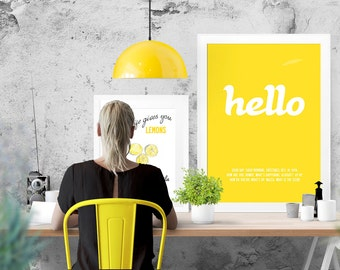 Hello - word / text typographic stylish matt poster print. Large size A2, 42 x 59.4 cm