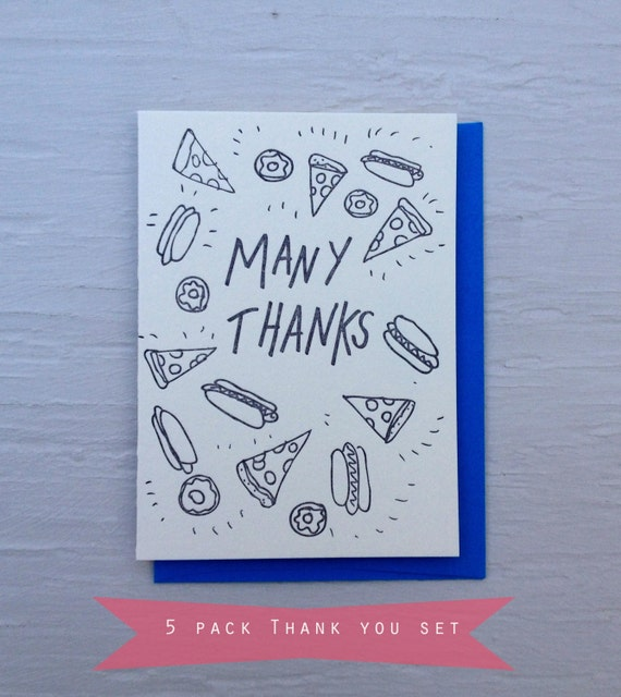 Letterpress cards- 5 pack thank you pack