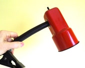 Vintage Red Clip On Desk Lamp - Bendable Gooseneck Task Lighting - Office, Desk Lamp 1980's