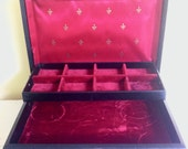 Vintage Jewelry Box, Black Leather with Ruby Red Interior,Gold Trim, Two Tier + Drawer