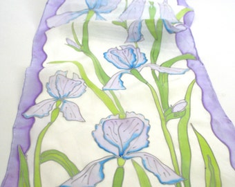 Floral scarf iris scarf , pale scarf in lavender , delicate silk scarf