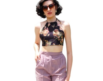 Floral print cropped halter top PETITE UPCYCLED