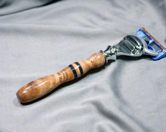 Men's Gillette Fusion wet shaving kit safety razor  black obsidian groom groomsmen husband son father Ready2Ship