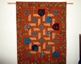 I Spy The Southwest Quilt Gold and Rust Interlocking sashings with Southwestern fabrics Wall hanging or lap quilt