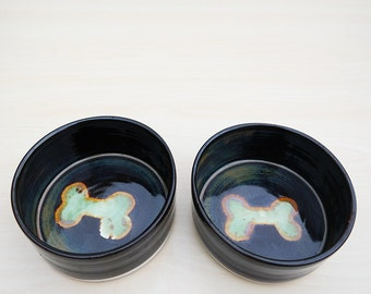 Medium Ceramic Dog Bowl Set with Bone - Green + Dark Brown