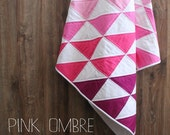 Modern ombre baby quilttriangle, geometric triangle, pink girls quilt, custom colors