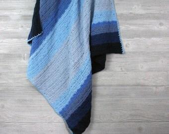 Ombre Stripe Baby blanket, Crochet Afghan