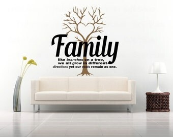 Family like branches on a tree home decor wall decal, we all grow but our roots remain as one vinyl wall decal, great family wall quote