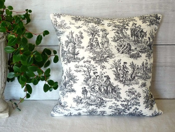 Shabby cottage chic toile pillow cover black by for Toile shabby chic