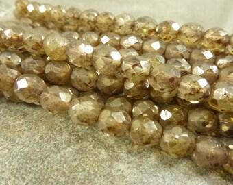 Crystal Travertine Czech Glass Firepolish Beads 8mm Faceted Glass 16pc