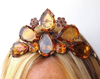 Superbe antique Amber Crystals Jewelred Tiara Crown