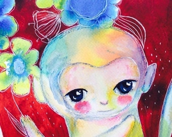 Baby monkey - monkey painting , mixed media art, animal watercolor, animal illustration, kids art, jungle art, Red, rainbow