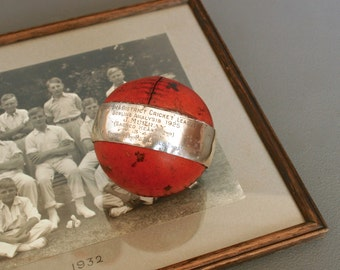 Antique Silver Cricket Ball Trophy - English 1925 Leather Cricket Ball - Cricket Memorabilia - Presentation Cricket Ball