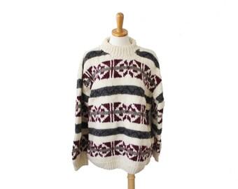 Vintage 80s IXCHEL Sweater - Snowflake Nordic Skiing - Men XL - Thick Wool