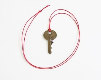 Vintage National Key Co M1 Cleveland Ohio Upcycled Necklace on Waxed Red Cord