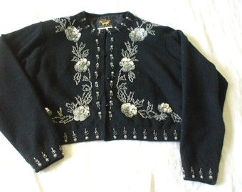 Black 50's Beaded - Sequined Sweater by I DID IT by Mathew H - Lined - Shoulder Pads - Lambswool -  Angora - Vintage - Size S - #1440
