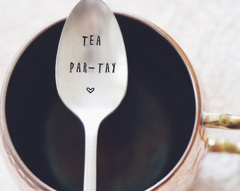 Tea Par-Tay! (TM)-  Hand Stamped Vintage Coffee Spoon for COFFEE LOVERS
