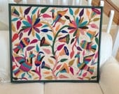ANTHROPOLOGIE Style CREWEL ART Floral Bird Embroidery Art Almost 3 Foot Wide with Large Green Frame Peruvian Style at Retro Daisy Girl