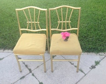 GOLD FAUX BAMBOO Chairs Pair of Metal Gold Chairs Palm Beach Chic Brass Chairs Chinoiserie Style On Sale at Retro Daisy Girl