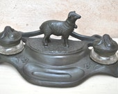 Vintage French Art Nouveau Style Double Inkwell  - Sheep Figurine - Office Decor