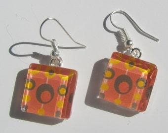 Orange Earrings, Retro Print Earrings, Orange Glass Dangle Earrings, Mid Century Print Earrings, Summer Earrings, Orange Jewelry, MCM