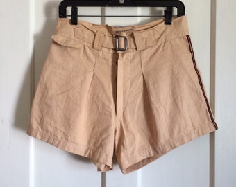 Vintage 1930's HBT Cotton Button Fly Mens Shorts size 32 Buckle front