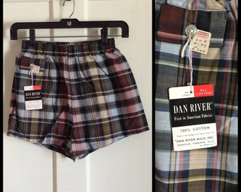 Deadstock Vintage 1950's Swimsuit Plaid Boxer Shorts NWT NOS 28 - 30 inch Waist Boys size Large all cotton