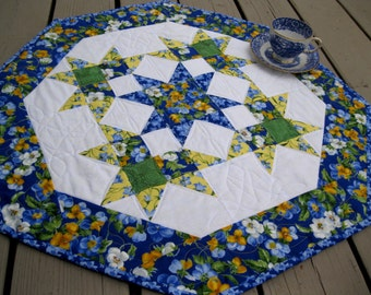 Summer Breeze quilted 27 inch table octagon centerpiece in blue and yellow