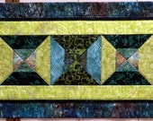 Bow Tie Batik Quilted Table Runner/wall hanging greens teals