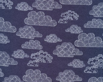 Organic Cotton FLANNEL Fabric - Cloud9 First Light - Nimbus Navy Flannel - Prewashed