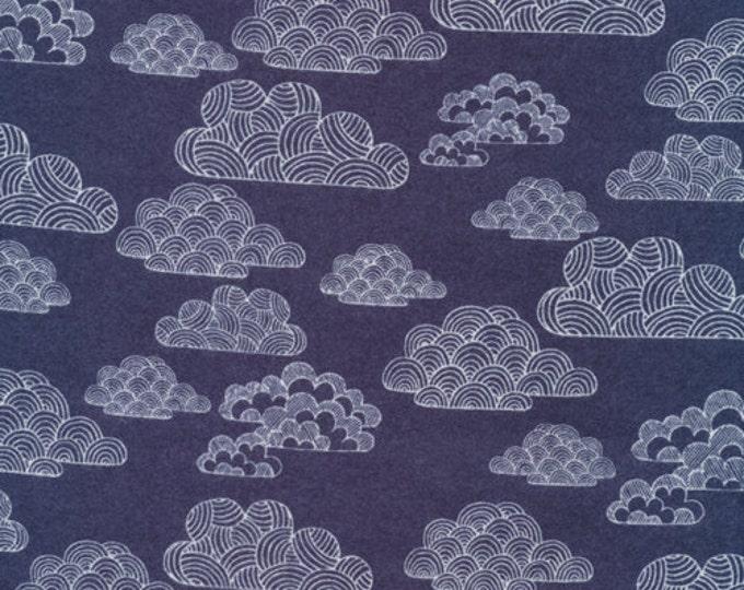 Organic Cotton FLANNEL Fabric - Cloud9 First Light - Nimbus Navy Flannel - Prewashed