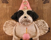 Shih Tzu Birthday Angel, OOAK, hand-sculpted from papier mache,Shih Tzu with cupcake