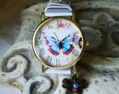 SALE - Butterfly Dial Wrist Watch - White PU Leather Band - Brass Butterfly Charm - Matching Glass Dangle