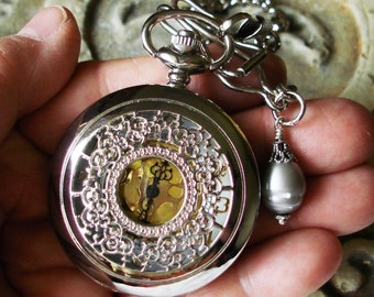 Large Grey Potato Pearl - Silver Tone Pocket Watch with chain, fob, and pocket clip   C 3-4