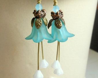 Frosted Blue Tulip Earrings-Princess Earrings-Long Dangle Earrings