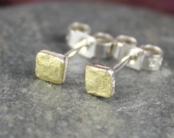 Tiny 18ct gold and silver square studs
