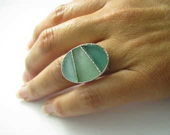 One Of A Kind Adjustable Spiral 3 Colors Roman Glass 925 Sterling Silver Ring