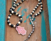 Black and White Moon Mala - Layering Necklace -  a loony moon