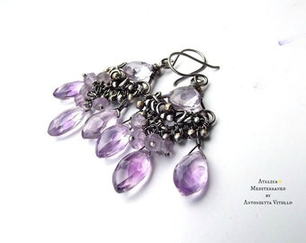 Wire Wrapped Chandelier Earrings In Sterling Silver And Amethyst.
