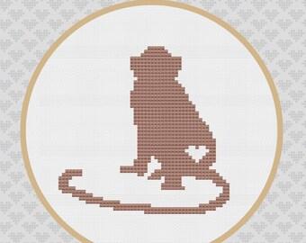 Monkey Silhouette Cross Stitch Pattern