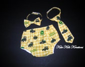 Baby Boy's Diaper Cover and Necktie or Bow Tie, John Deere Tractor, Ready to Ship