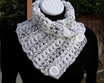 Large NECK WARMER SCARF Buttoned Cowl White Black Gray Grey Striped, Soft Wool Blend, Buttons, Thick Winter Crochet Knit..Ships in 2 Days